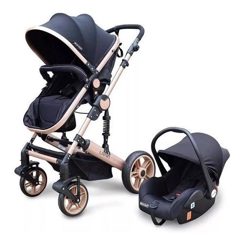 Cochecito de bebé Mega Baby Lanin de paseo negro con chasis dorado