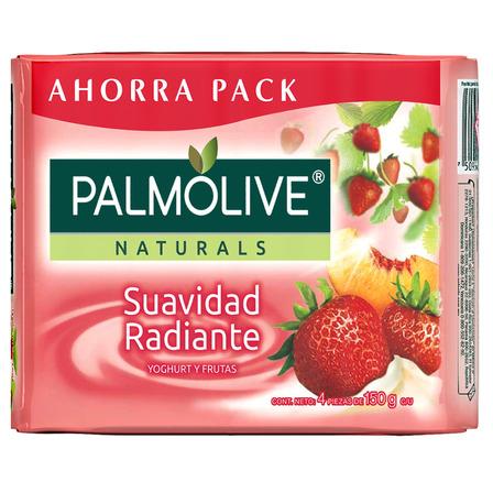 Jabón en barra Palmolive Naturals Yoghurt y Frutas 150g 4u