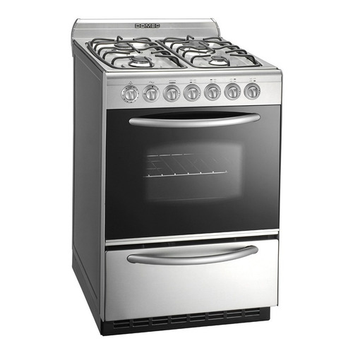 Cocina Domec CXULEV multigas 4 hornallas  acero inoxidable 220V puerta  con visor