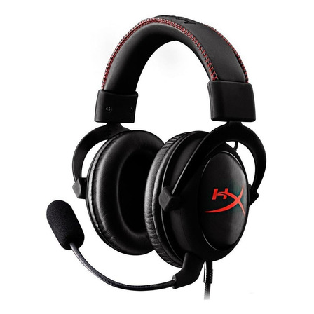 Fone de ouvido gamer HyperX Cloud Core preto e vermelho