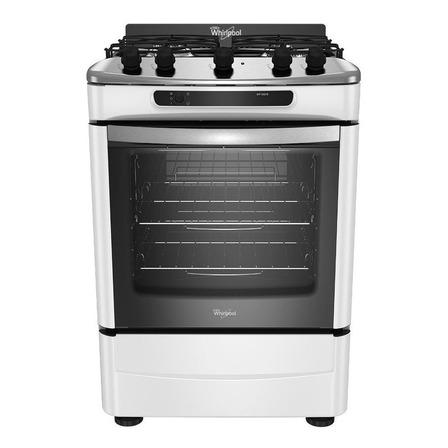 Cocina Whirlpool WF160XB multigas 4 hornallas blanca 220V puerta con visor 75.9L