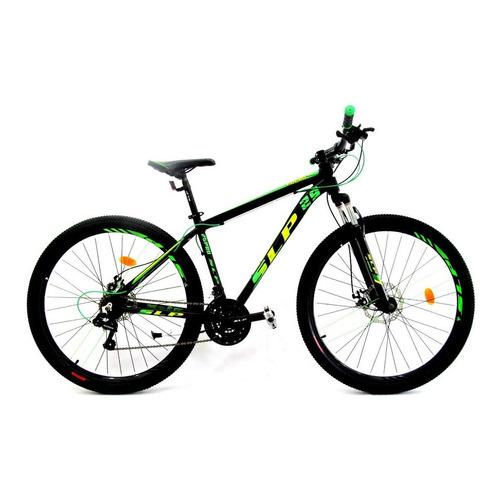 """Mountain bike SLP 25 Pro R29 20"""" 21v frenos de disco mecánico cambios Shimano Tourney TZ31 y Shimano Tourney TZ500 color negro/verde con pie de apoyo"""
