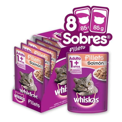 Whiskas Alimento Húmedo Gatos Salmon En Filetes 8 Sobres