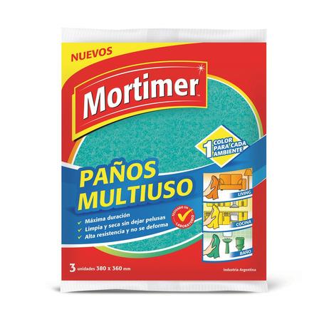Paño de limpieza Mortimer Multiuso Multicolor 3u