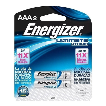 Pila AAA Energizer Ultimate Lithium L92 Cilíndrica - Pack de 2 unidades