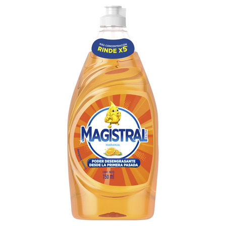 Detergente Magistral Ultra Naranja sintético en botella 750mL