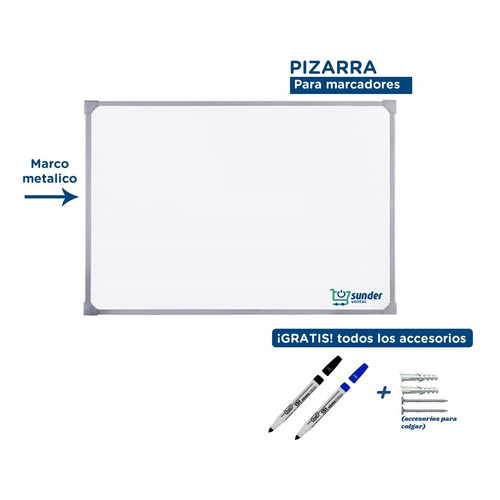 Pizarra Blanca 60x80cm Marco Metalico + Accesorios Gratis