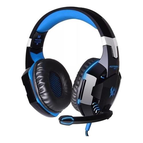 Audífonos gamer Kotion G2000 negro y azul con luz LED
