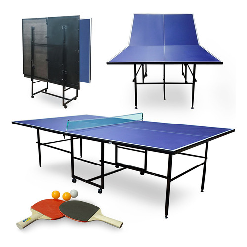 Mesa Ping Pong Profesional Plegable Con Ruedas + Red + Regal