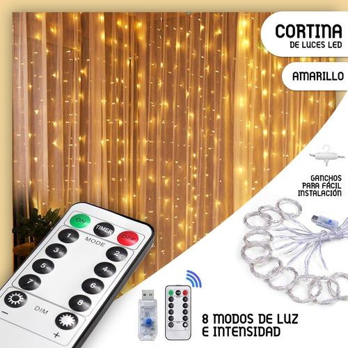 Cortinas Serie Luces 3x3m Led, Usb,control Remoto, 2 Colores