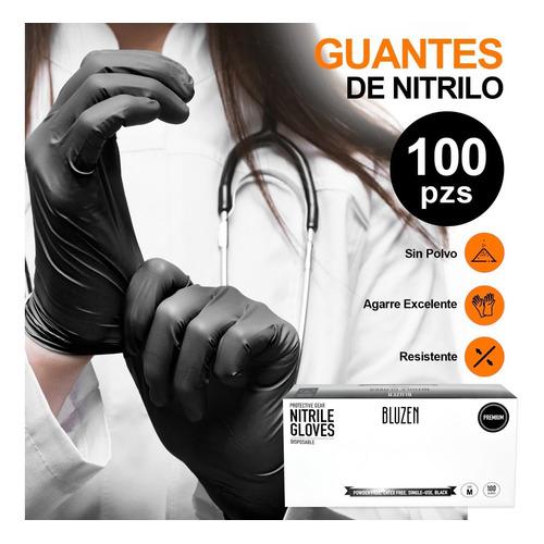 Guantes De Nitrilo Libre De Latex Sin Polvo Azul Negro 100pz