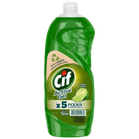 Detergente Cif Active Gel Limón Verde concentrado en botella 750mL