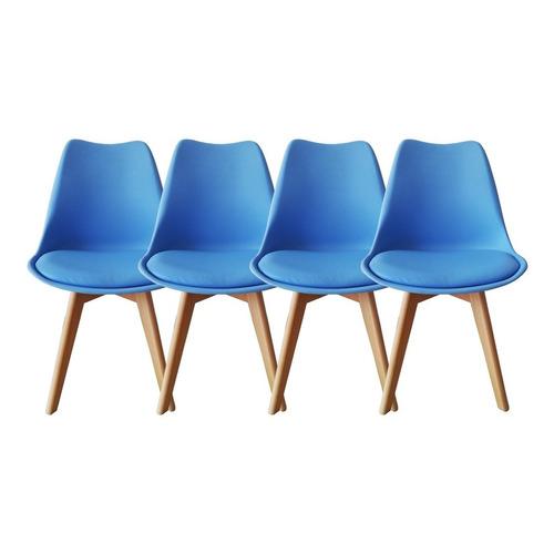 Set De 4 Sillas De Comedor Eames Modernas Komfort Multicolor