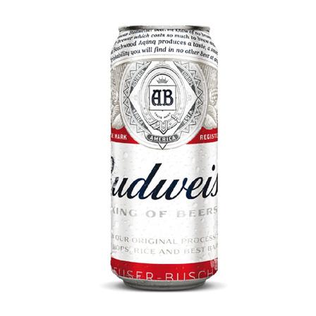 Cerveza Budweiser American Adjunct Lager rubia lata 473mL