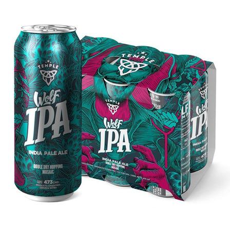 Cerveza Temple Wolf IPA rubia lata 473mL 6 u