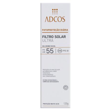 Protetor Solar Ultra Gel-Creme Facial FPS 55 Adcos Caixa 120g
