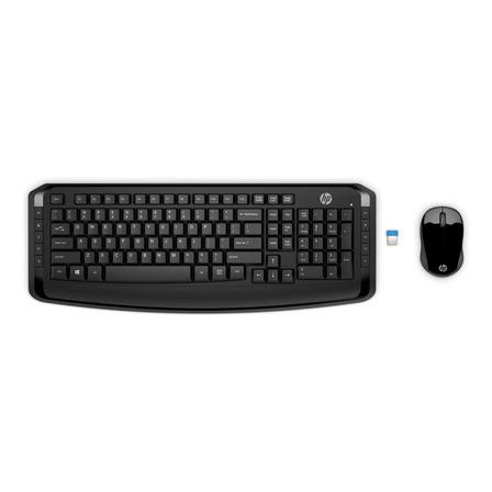 Kit de teclado y mouse inalámbrico HP 3ML04AA Inglés US de color negro