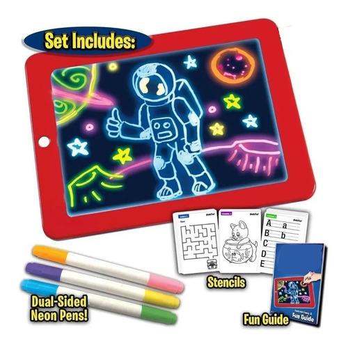Bloc Pizarra De Dibujo Mágico Luz Led + Plumones Niños