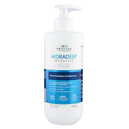 Loção Hidratação Intensa Corpo e Rosto sem Perfume Profuse Hidradeep Frasco 400g