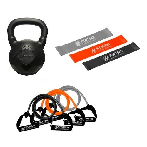 Kit Set Gym Pesa Rusa Kettlebell 5 Kg + Bandas Elasticas