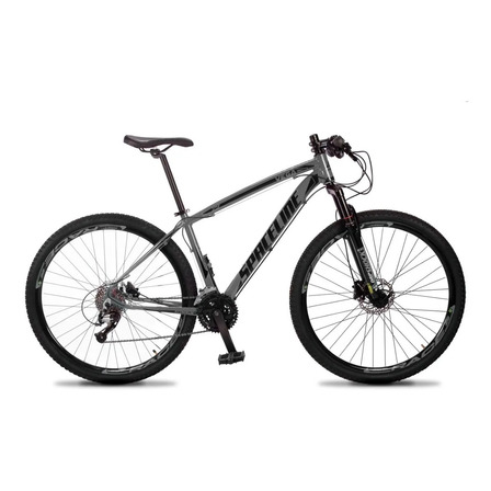 "Mountain bike Spaceline Vega 2021 aro 29 19"" 27v freios de disco hidráulico câmbios Dropp Indexado cor cinza/preto"