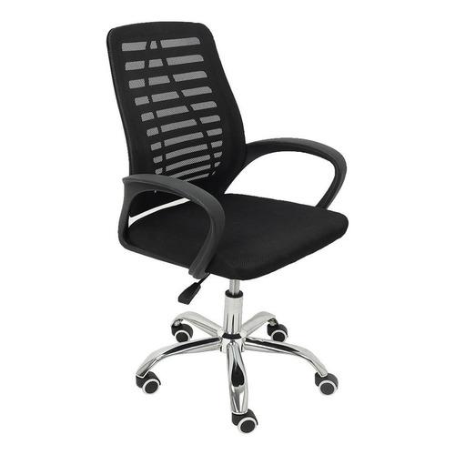 Cadeira De Escritório Trevalla Tl-cde-34-1  Preta Com Estofado Do Mesh