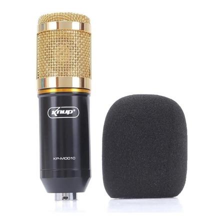 Microfone Knup KP-M0010 condensador  cardióide e unidirecional preto/dourado
