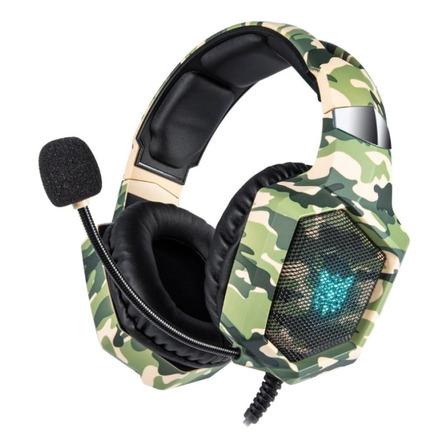 Fone de ouvido gamer Onikuma K8 camouflage verde com luz rgb LED