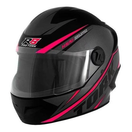 Capacete para moto  integral Pro Tork  R8  preto e rosa tamanho 58