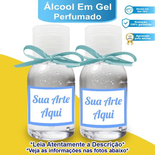 50 Mini Álcool Em Gel Perfumado Personalizado 30ml