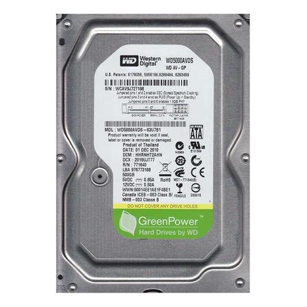 Disco rígido interno Western Digital WD AV-SP WD5000AVDS 500GB prata