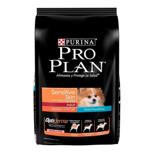 Alimento Pro Plan OptiDerma Sensitive Skin Adult para perro adulto de raza pequeña sabor salmón/arroz en bolsa de 3kg