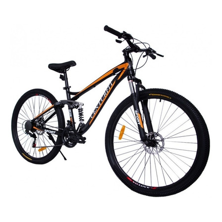 Mountain bike Centurfit MKZ-BICIALUMINIO R29 21v color naranja con pie de apoyo