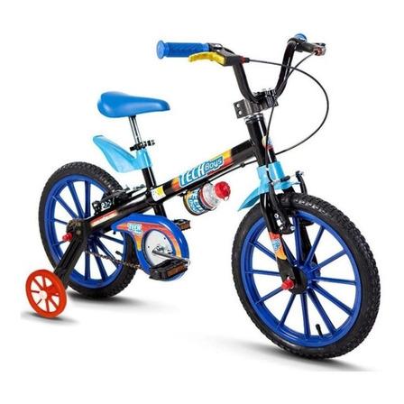 Bicicleta  infantil Nathor Aro 16 Tech Boys aro 16 freios v-brakes cor preto/azul/azul-celeste com rodas de treinamento