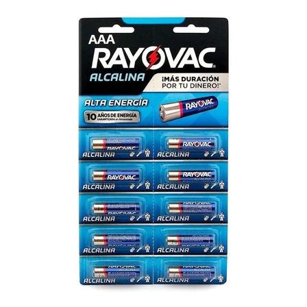 Pila AAA Rayovac Alcalina Cilíndrica - Pack de 10 unidades