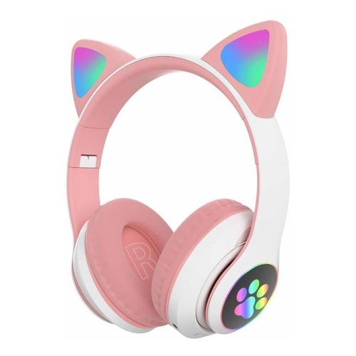 Audífonos Diadema Orejas De Gato Bluetooth Mic Y Luces