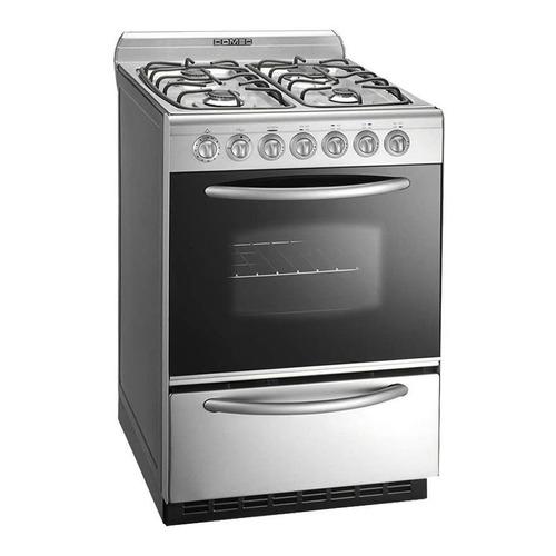Cocina Domec CXULEAV-Reflex gas natural 4 hornallas  plateada 220V puerta  con visor