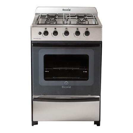 Cocina Escorial Master multigas 4 hornallas acero inoxidable 220V puerta con visor