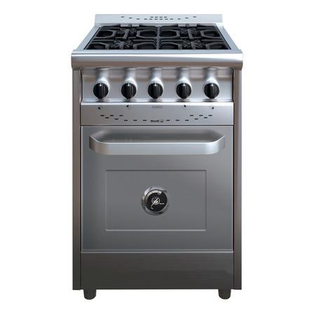 Cocina industrial Morelli Country 600 multigas 4 hornallas plateada 220V puerta ciega