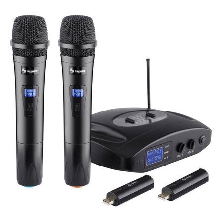 Micrófonos inalámbricos Steren WR-810 unidireccional negros