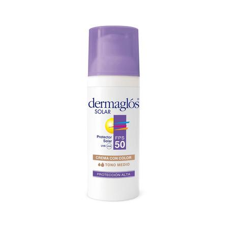 Protector solar Dermaglós FPS 50 Con Color Tono Medio para rostro crema resistente al agua FPS50 x 50g