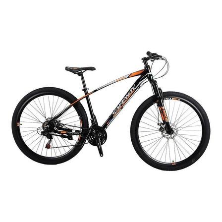 Bicicleta  de passeio Safeway Alumínio aro 29 M 21v freios de disco mecânico câmbios Shimano Tourney TZ30 y Shimano Tourney TZ50 cor preto/laranja com descanso lateral