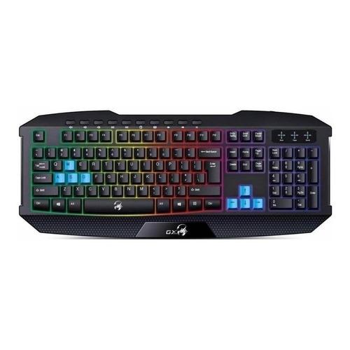 Teclado gamer Genius Scorpion K215 QWERTY español color negro con luz de 7 colores