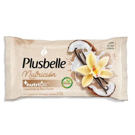 Jabón en barra Plusbelle Nutrición 125g pack x 3