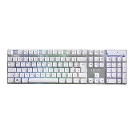 Teclado gamer OEX Prismatic TC205 QWERTY português brasil cor branco com luz RGB
