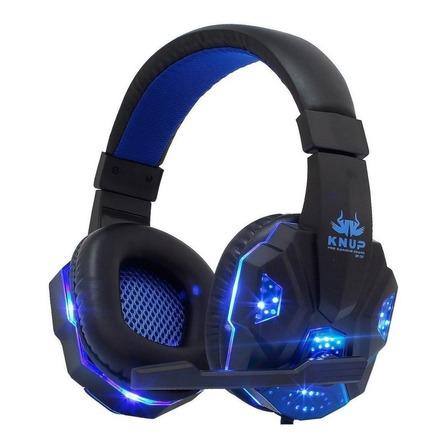 Fone de ouvido gamer Knup KP-397 preto e azul