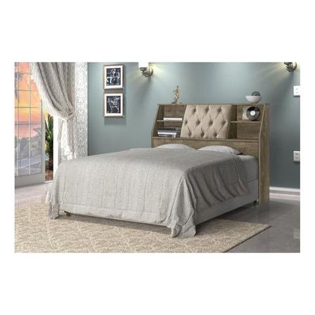 Cabeceira de cama Cambel Móveis Nubia Casal 146cm x 115cm noce/bege