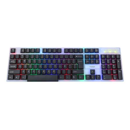 Teclado gamer Noganet NKB-216 QWERTY español de color negro y plata con luz RGB