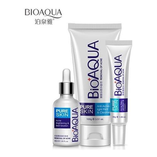 Set De 3 Pure Skin Bioaqua Retira Acne Espinillas Grasa Full