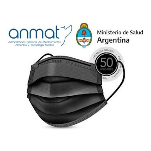 Barbijo Negro Tapaboca Descartable Anmat X50u Tricap 95 %